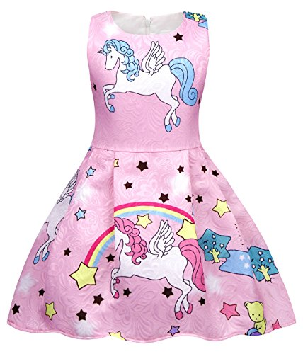 Cotrio Unicorn Dresses for Big Girls Rainbow Stars Fancy Dress Teens Theme Birthday Party Outfits Pleated Skirt Kids Halloween Clothes Size 10 (9-10 Years, Pink, 140)