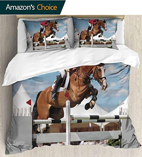 shirlyhome Horse Decor European Style Print Bed Set,Jumping Horse and Sportsman Race Competition Performance Success Winning Event 100% Cotton Bedspread/Quilt Set,3 Pieces 80