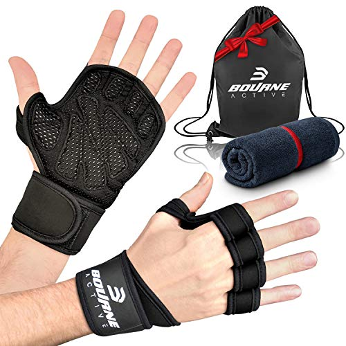 Ventilated Weight Lifting Gloves for Gym Workout PLUS Bonus Gym Towel & Bag Kit. Wrist Wrap Support for Weightlifting & Cross Training Fitness. Full Palm Protection Gym Gloves for Men & Women - Large