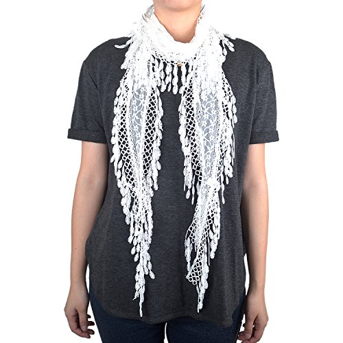 Lace Scarf with Flower Print & Melon Seed Fringe (White) ()