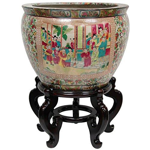 Oriental Furniture BW-20FISH-RMD Medallion Porcelain Fishbowl, 20
