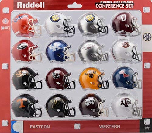 Riddell NCAA Pocket Pro Helmets, SEC Conference Set, (2018) New College Football Team Helmets