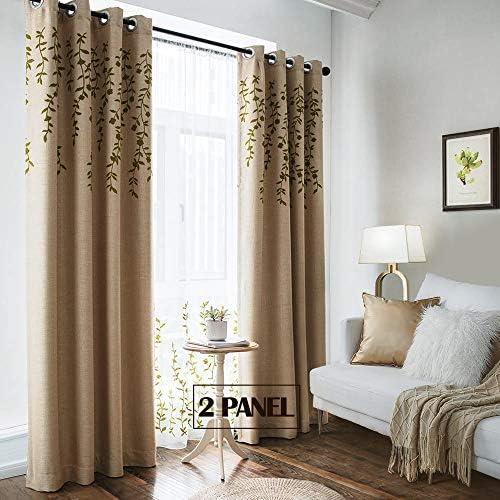 TINYSUN Vine Flower Embroidered Top Linen Textured Curtain