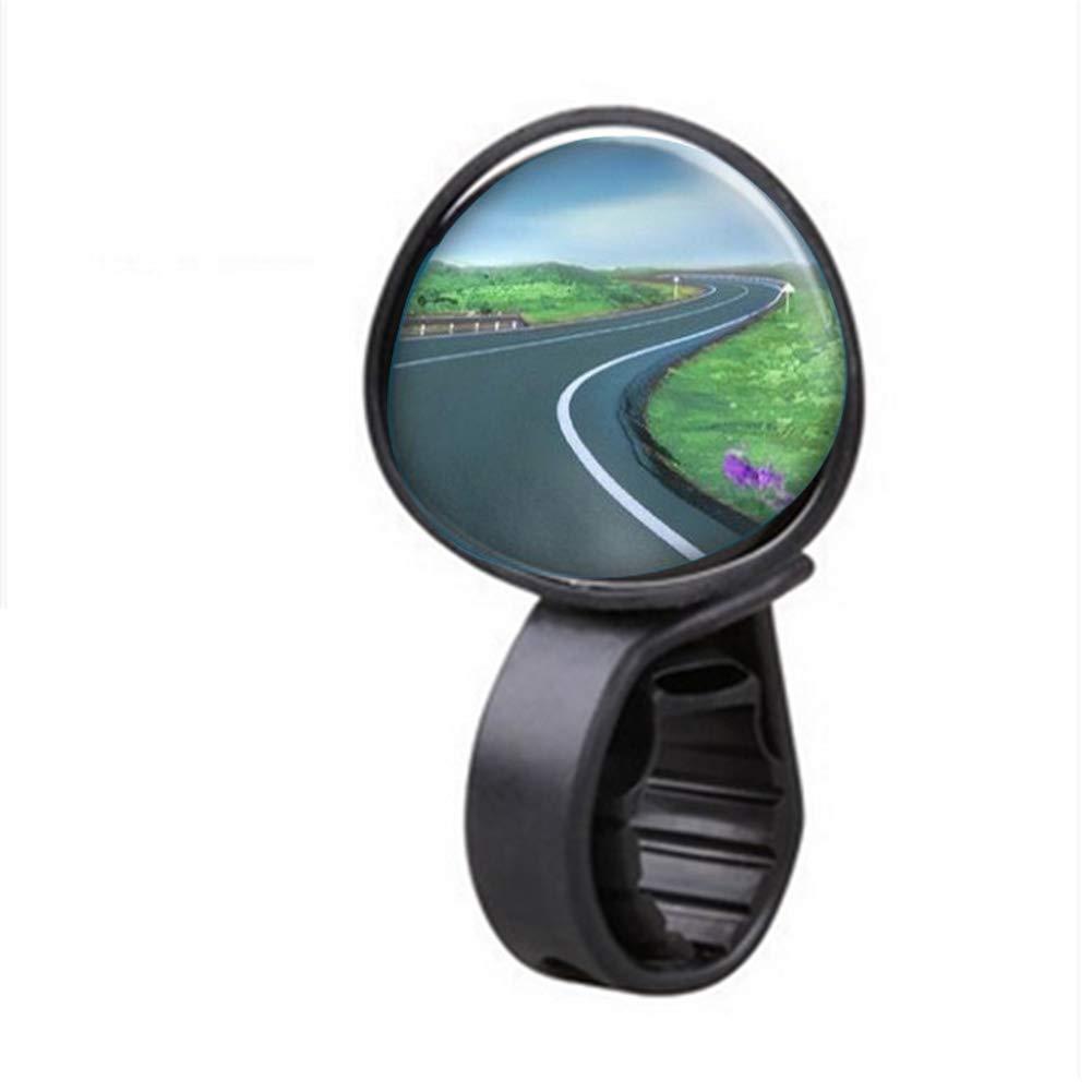 Bicicletta retrovisore Specchi manubrio End vetro Bike Specchi Universale rotazione di 360 gradi specchio retrovisore per bici Nero