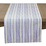 SARO LIFESTYLE Modern Stripe Design Cotton Table Runner, 16'' x 72'', Navy Blue