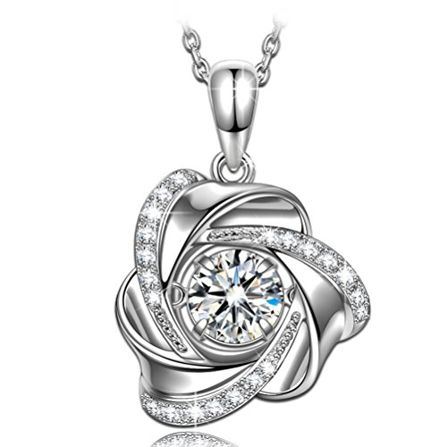 Zirconia Twinkle Heart Cubic - Swarovski Crystal Necklaces for Women Flower Necklaces for mother 925 Sterling Silver Necklace for Women Dancing Heart Jewelry for Women Cubic Zirconia Gifts for Women