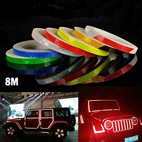 Safety Reflective Warning lighting Sticker Adhesive Tape Roll Strip. For Beautify Bicycle Bike Decoration (Red) Reflective Safety Material