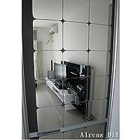 Alrens 15x15cm cuadrados, techo, techo, decoración, superficie de espejo, pegatinas de pared de cristal, 6 piezas (plateado)