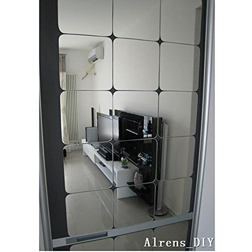 Alrens 15x15cm Squares Roof Ceiling Decor Mirror Surface Crystal Wall Stickers, 6 Pieces (Silver) (Sex Mirror)