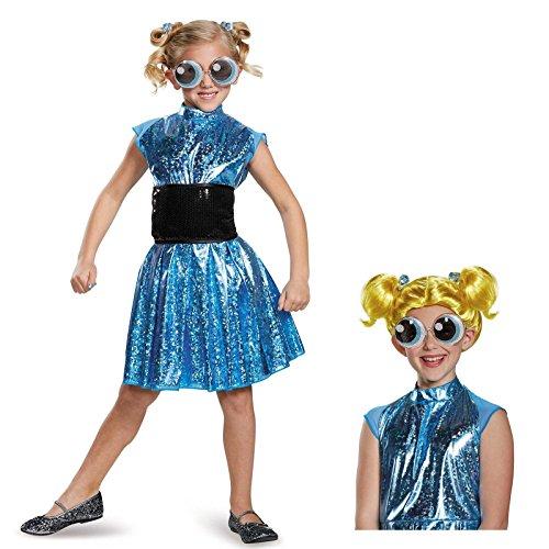[Powerpuff Girls Bubbles Deluxe Child Costume Bundle Set - Medium] (The Powerpuff Girls Costumes)