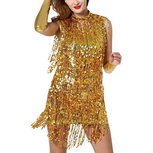 (Respctful✿Sexy Latin Dance Dress for Women Sequin Fringe Tassels Elegant Ballroom Dance Sparkling Sequins Dress Gold)