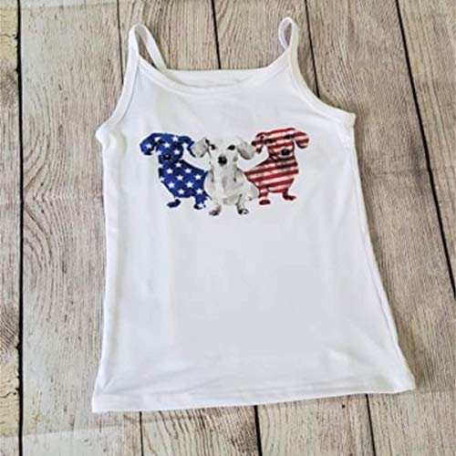 Stars and Stripes Dachshund Doxies Dog Tank Top Summer Cami Size S/CH 6-6X 4th of July American Flag Beach