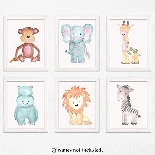 Baby Safari Animals Prints for Nursery - Set of 6 8x10 Poster Pictures of Lion, Elephant, Zebra, Giraffe, Monkey & Hippo - Unframed Zoo Wall Art for Baby's Room - Great Wall Art Decor for Baby Shower