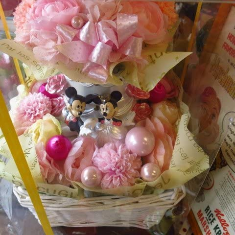 結婚祝い ディズニー フラワーギフト ミッキー&ミニー プリザーブドフラワー ウェディング♪   ピンク系 クリアーケース付き 20cm×30cm