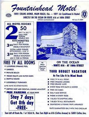 Fountainhead Motel Ad Flyer 1960's Collins Avenue Miami Beach - Collins Beach Miami