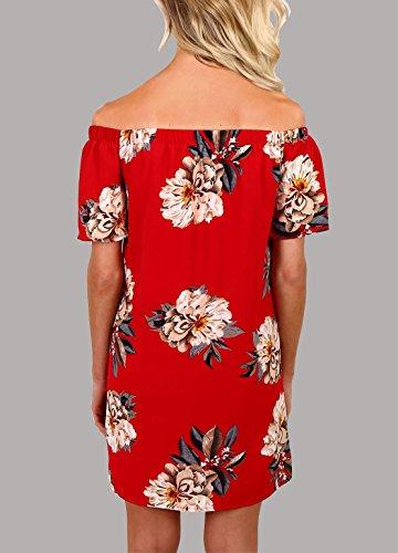 Damen Sommerkleider Blusenkleider Elegant Festlich Kurz Schulterfrei  Vintage Blumendrucken Kleider Kurzarm R¨¹ckenfrei Wort Kragen Casual ...
