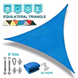 Coarbor 20'x20'x20' Triangle Sun Shade Sail with Hardware kit Perfect for Patio Deck Yard Outdoor Garden Permeable UV Block Shade Cover-Blue