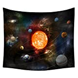 QCWN Space Galaxy Decor Tapestry,Solar System Planets Together in Spaceship Mercury Jupiter Globe Saturn Universe Concept Tapestry For Living Room and Bedroom. Multi 78x59Inc