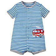 Kidsform Baby Boy Romper Summer Short Sleeve Bodysuit Sleep and Play Jumpsuit Animal Outfit Red Car 6-9M