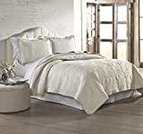 Amrapur 3MFSQLTG-IVY-FQ 3 Piece Ivory Solid Embroidered Quilt Sets, Full/Queen