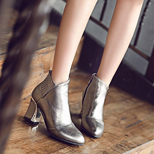 Latasa Womens Pointed Toe Chunky Heels Fall Ankle Boots Slate Gray 2d13W