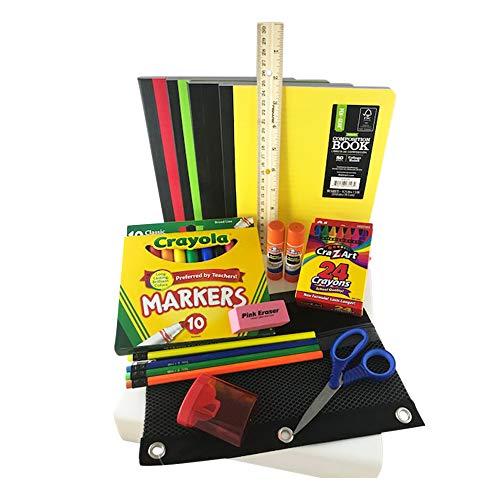Back to School Bundle/Starter Kit – Great for Grade School – Includes Black MESH Supply Pouch, notebooks, Ruler, Markers, Crayons, Pencils, Pencil Sharpener, Eraser, and Glue Sticks
