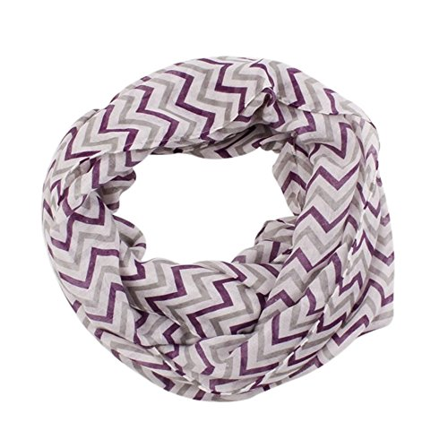 Price comparison product image AStorePlus Hot Sale Women Grils Soft Zig Zag Chevron Sheer Infinity Scarf - Purple Grey White