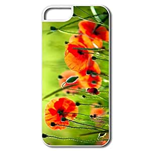 IPhone 5 Cases, Beautiful Poppies Case For IPhone 5 5S - White Hard Plastic