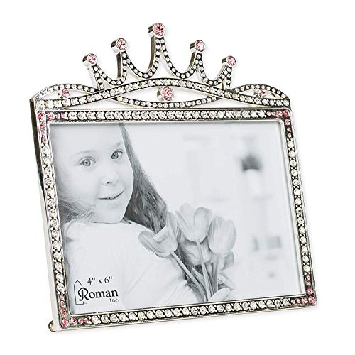 Princess Crown Rhinestone Encrusted 6 x 5.5 inch Zinc Alloy Table Top Picture Frame - Princess Frame