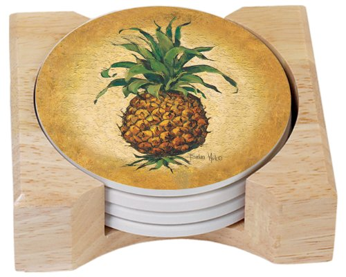 CounterArt Pineapple Pizzazz Design Absorbent Coasters in Wooden Holder, Set of 4
