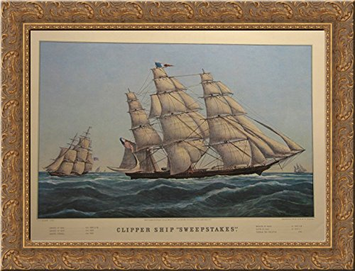 takes' 24x18 Gold Ornate Wood Framed Canvas Art by Currier and Ives (Currier & Ives Framed)