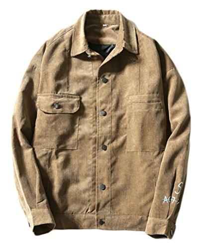 Camel Corduroy (ouxiuli Men's Casual Cotton Long Sleeve Military Corduroy Jacket Camel XXXL)