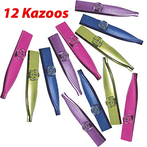 AbbyRose 12 Kazoos for Kids | Noisemakers Party Favors | Novelty Toys, Musical Instruments, Party Supplies | Plastic Metallic Kazoo Bulk Pack | Party Whistles for Boys and Girls of All Ages