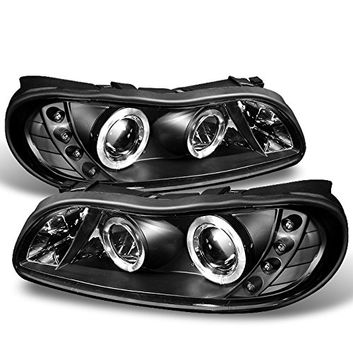 Malibu Halo Projector Headlights - For Chevy Malibu Black Bezel Dual Halo Ring LED Design Projector Headlights Front Lamps Left + Right