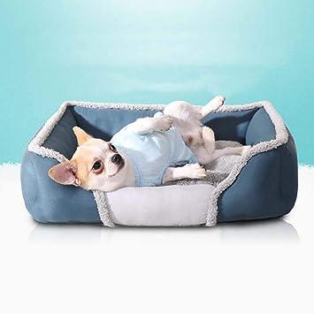 laamei Cama para Mascotas Rectangular Colchoneta Cama con Almohada de Dormir Suave y Acogedor para Perros Gatos Cachorro Sofa Sofa Mat Perrera Pad para ...