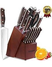 Cuchillo de cocina homgeek, Juego de cuchillos profesional Bloque de madera, Juego de cuchillos de madera de acero inoxidable alemán, 15 piezas