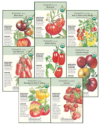 Botanical Interests Tomato Lovers Organic Seed Collection - 8 Packets with Gift Box