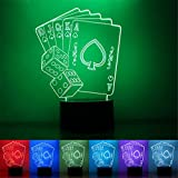 Iuhan Poker Card 3D LED Night Light Lamps 3D Optical Illusion 7 Colors For Home (I)