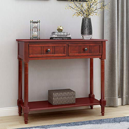 P PURLOVE Console Table Entry Table Wooden Sofa Table with 2 Drawers and Bottom Shelf (Dark Cherry) (Sofa Oak Table Red)
