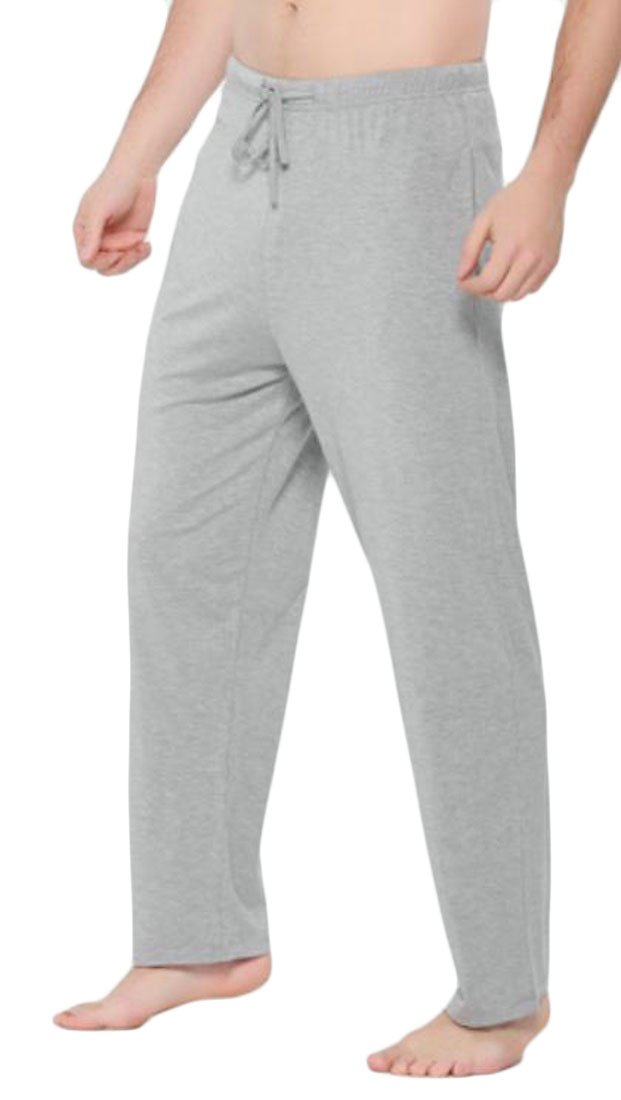 Cromoncent Men Baggy Sport Yoga Waist Drawstring Lounge Straight Pajama Bottom Pants Light Grey M by Cromoncent