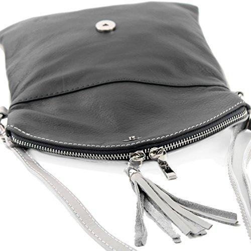 bolsa de T139 cuero Grau cuero T139 pequeña bolsa bandolera ital bolso embrague muchacha de de embrague Dunkelgrau HUqIzI