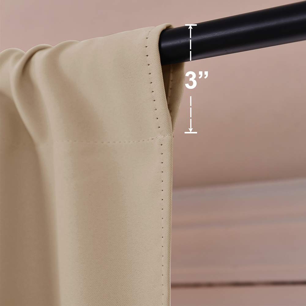 NICETOWN Blackout Room Darkening Curtains Home Decoration Light /& Noise Reducing Thermal Insulated Window Draperies with Rod Pocket Top Biscotti Beige, Set of 2 Pieces, 42 Wide x 45 Long