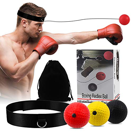 Boxing Reflex Ball, Hand-Eye Coordination Training React Reflex Ball Plus Adjustable Headband, Speed Reflex Bag Punching…