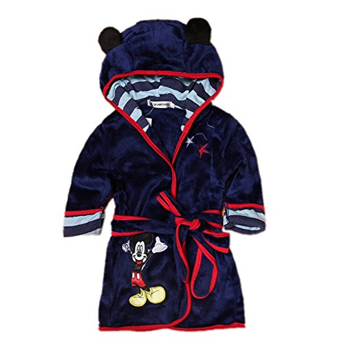 Fankeshi Kids Little Boys Girls Hooded Pajamas Cartoon Animal Bath Robes (Navy, 90: 2T) (Personalized Embroidered Pillow Baby)