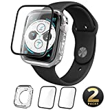 Apple Watch 4 Screen Protector, with Free Clear TPU Case Bundle [i-Blason Clear Case and Two Tempered Glass Screen Protector Combination Pack] [Compatible with Apple Watch Series 4 2018] (44 mm)