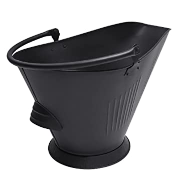 Amazon.com: Amagabeli Large Ash Bucket for Fireplace Coal hod or Pellet Bucket Carrier in Power Coated for Wood Stove Black: Home & Kitchen
