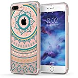 iPhone 7 Plus Case, Mandala iPhone 8 Plus Case, True Color Mandala Lace Printed on Clear Hybrid Cover Hard + Soft Slim Durable Protective Shockproof TPU Bumper - Teal / Mustard
