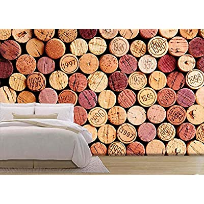 Closeup of a Wall of Used Wine Corks. a Random Selection of Use Wine Corks, Some with Vintage Years - Removable Wall Mural | Self-Adhesive Large Wallpaper - 66x96 inches