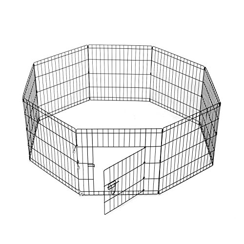 SmithBuilt Crates 8 Panel Metal Wire Popup Portable Fence Playpen Folding Exercise Yard with Door and Carry Bag, 24-Inch High, Black by SmithBuilt Crates (Image #1)