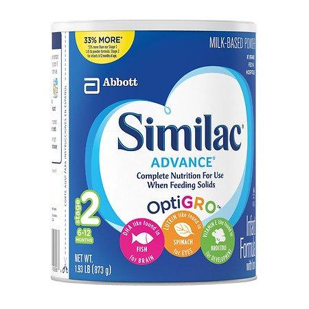 (2 Cans) Similac Advance OptiGro Stage 2 Baby Formula 30.8 Oz Powder